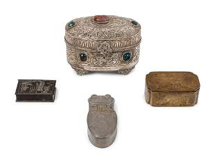 Four Chinese Metal Covered Boxes