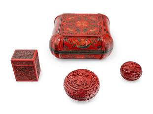 Four Chinese Red Lacquer Covered Boxes