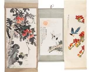 Three Chinese Paintings Scrolls