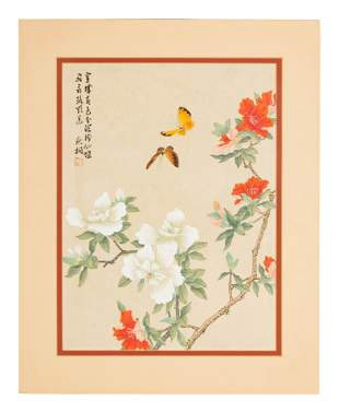 Three Chinese Ink and Color Paintings and One Woodblock