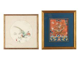 Two Chinese Embroidered Silk Panels