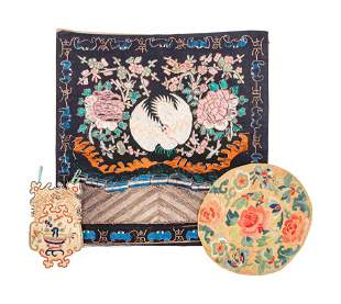 Three Chinese Silk Embroidered Articles