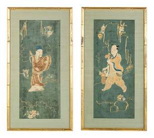 Two Chinese Embroidered and Woven Silk Panels