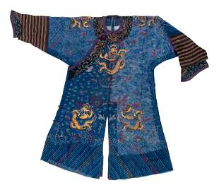 A Chinese Silk Gauze Embroidered Summer Dragon Robe,