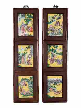 A Pair of Chinese Famille Rose Porcelain Inset Hardwood