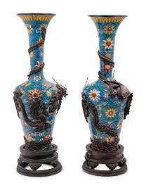 Two Pairs of Chinese Blue Ground Cloisonné