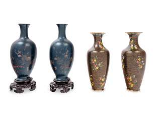 A Pair of Chinese Lacquer Vases and A Pair of Chinese