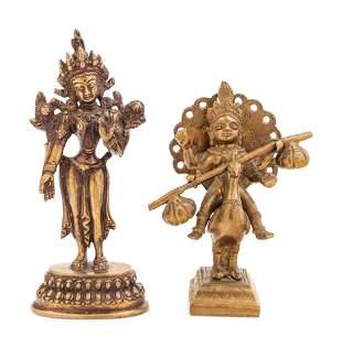 Two Himalayan Gilt Bronze Figures