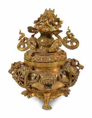 A Sino-Tibetan Style Gilt Bronze Tripod Incense Burner