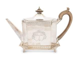 An English George III Silver Teapot and Stand