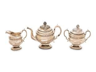 An American Coin Silver Three-Piece Tea Service