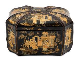 A Chinese Export Lacquered Tea Caddy 9 x 13 x 10 inches