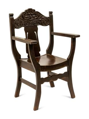 A Victorian Carved Grotesque Face Chair Chair height 38