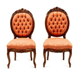 A Pair of Rococo Revival Mahogany Side Chairs height 40