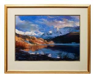 Bruce Gomez (American, b. 1957) Pastel Mountain Scene,
