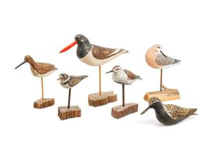 Six Carved Wood and Polychrome Shorebirds largest