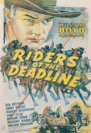 Vintage Movie Poster, Riders of the Deadline 38 x 25
