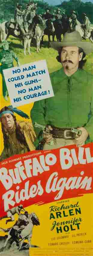 Vintage Movie Poster, Buffalo Bill Rides Again 34 x 12
