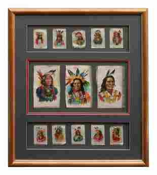 Collection of Framed Tokio Cigarette Silks 20 x 16