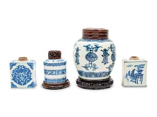 A Group of Blue and White Chinese Porcelain Jars