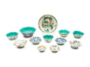 Twelve Chinese Porcelain Articles largest height 3 1/2,