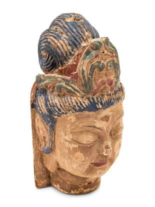 A Pair of Southeast Asian Deity Heads