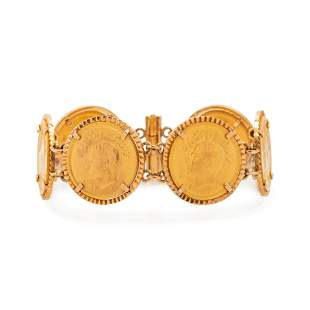 YELLOW GOLD AND COIN BRACELET