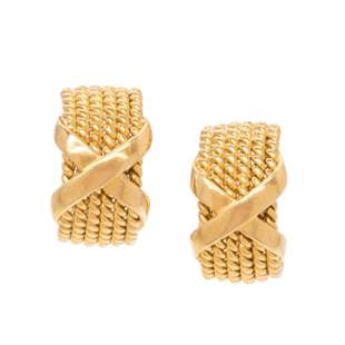TIFFANY CO., SCHLUMBERGER, YELLOW GOLD 'X' EARCLIPS