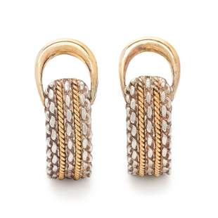 HERMÈS, SILVER AND YELLOW GOLD EARCLIPS