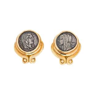 SUSAN BERMAN, YELLOW GOLD AND COIN EARCLIPS