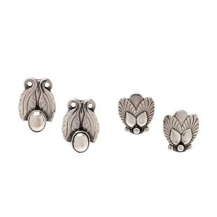 GEORG JENSEN, COLLECTION OF STERLING SILVER EARCLIPS