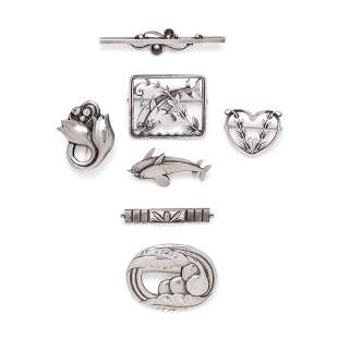 GEORG JENSEN, COLLECTION OF STERLING SILVER BROOCHES