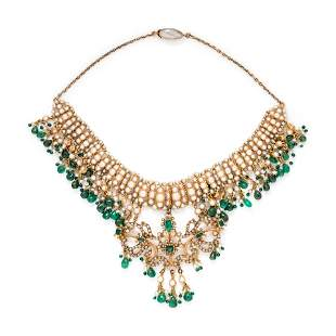 ANTIQUE, PEARL AND EMERALD FRINGE NECKLACE