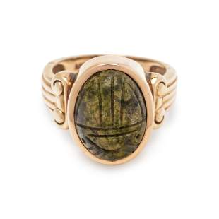 YELLOW GOLD AND SCARAB RING