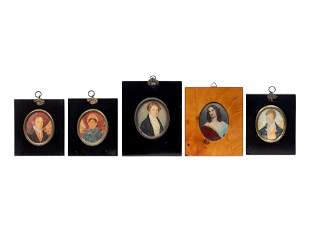 A Group of Continental Portrait Miniatures, Including a
