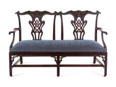 A George III Style Carved Mahogany Double Chair-Back