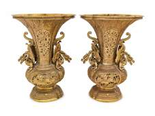 A Pair of Chinese Gilt Bronze Vases