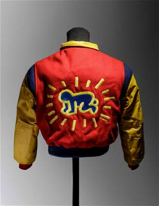 A Keith Haring Leather and Wool Boy's Bomber