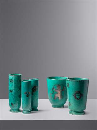 Wilhelm Kage (Swedish, 1889-1960) Five Argenta Pieces