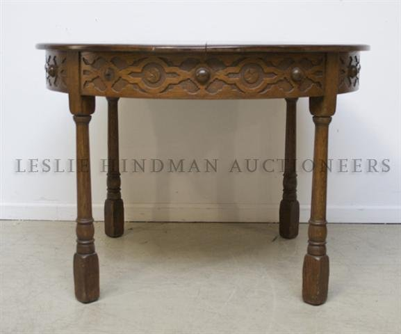 A Jacobean Revival Oak Round Center Table, Height 42 x