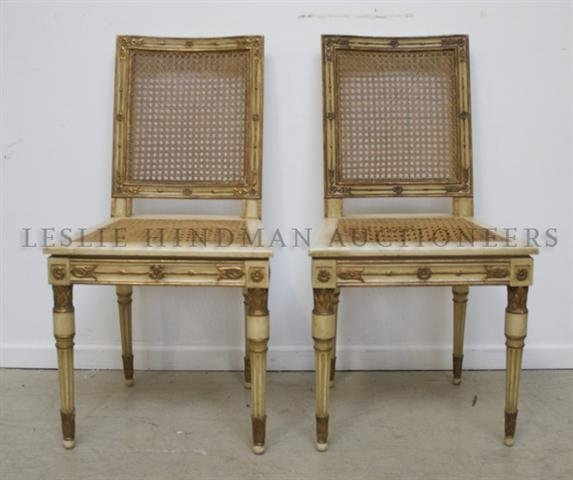 A Pair of Neoclassical Style Painted and Parcel Gilt Si