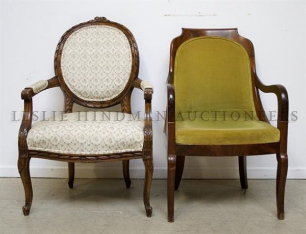 Two Open Armchairs, Height of tallest 38 1/2 inches.