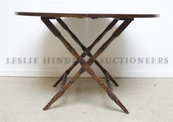 An American Mahogany Folding Tea Table, Height 24 7/8 x