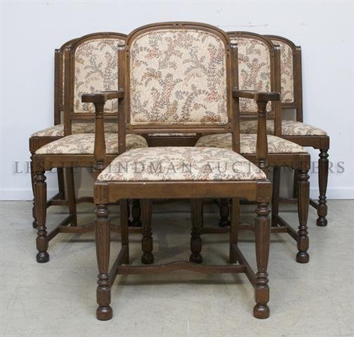 A Set of Six Walnut Chairs, Height 38 1/2 inches.