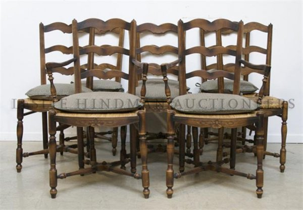 A Set of Eight French Chairs, Height 36 1/2 inches.