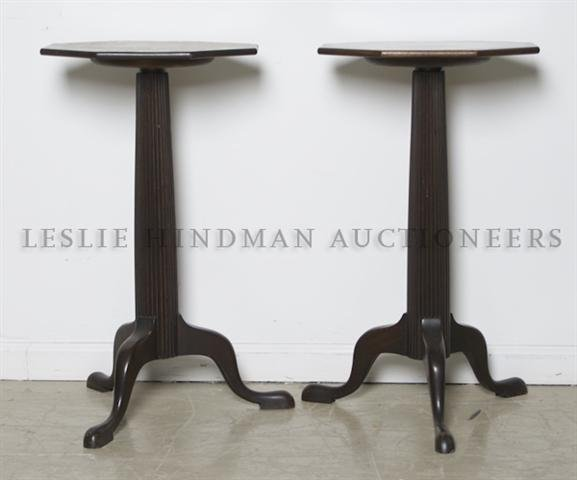 A Pair of Octagonal Side Tables, Height 27 x width 15 i