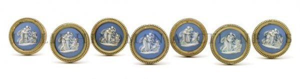 A Group of Twelve Wedgwood Door Knobs, Diameter of meda