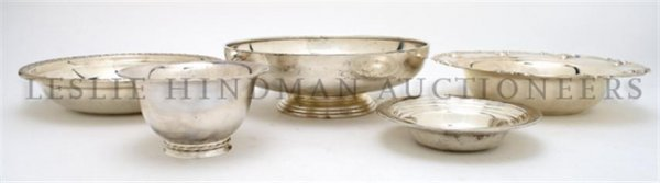 A Collection of Five Sterling Silver Bowls,