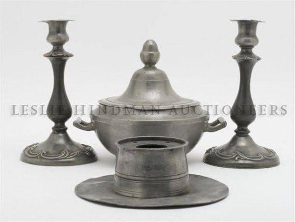 A Collection of Pewter Articles, Height of first 8 7/8