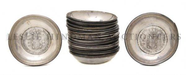 A Set of Eighteen German Silverplate Personal Ash Recei